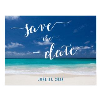Kalligraphie-Strand-Save the Date Postkarten
