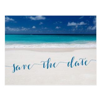 Kalligraphie-Strand-Thema retten die Postkarte