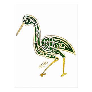 Kalligraphie-Vogel (Storch) Postkarte