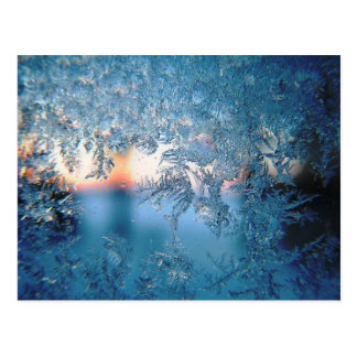 Kalter Winter-mattierte Glaseiskristalle Postkarte