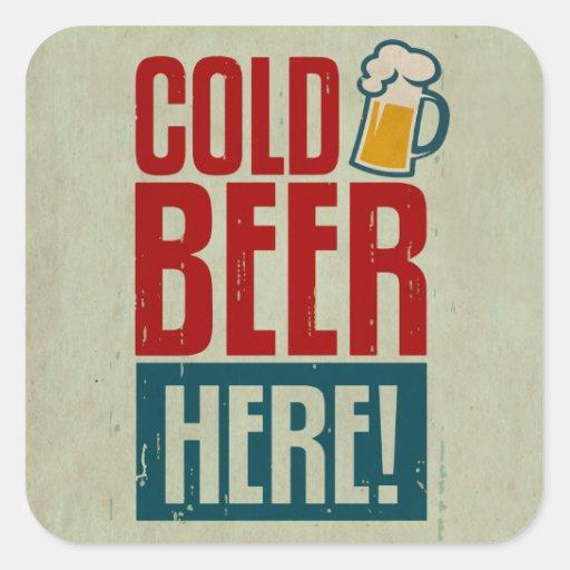 Kaltes Bier Quadrataufkleber