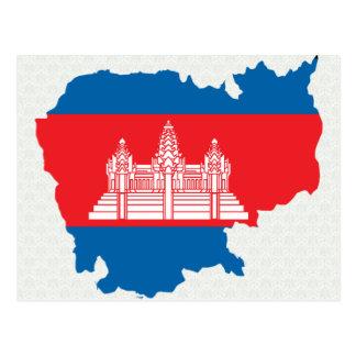 Kambodscha-Flaggen-Karte Größengleich Postkarte