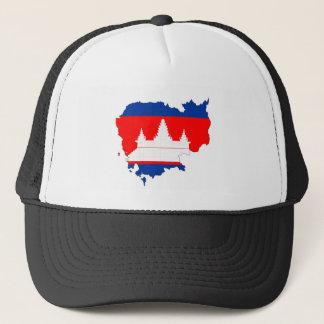 Kambodscha-Landflaggen-Kartenform-Silhouettesymbol Truckerkappe