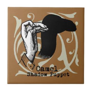 Kamel-Handmarionetten-Schatten-Spiele Vintag Kleine Quadratische Fliese