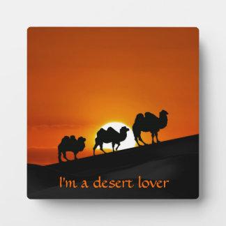 Kamele am Sonnenuntergang Fotoplatte