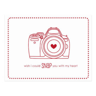 Kamera-lustige Valentinsgruß-Postkarten (rot) Postkarte