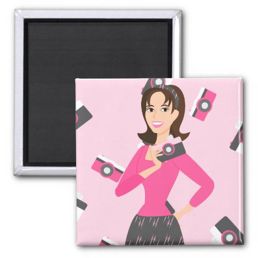 Kamera-Mädchen Quadratischer Magnet