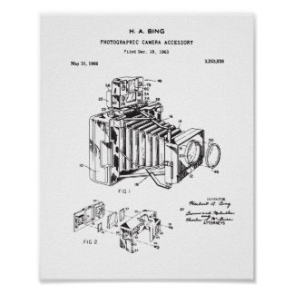 Kamera-Patent-Plakat, Vintages Kamera-Patent Poster