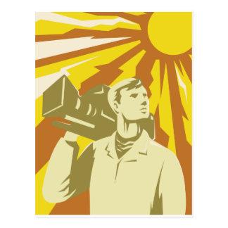 Kameramann-Film-Crew mit Videokamera Postkarte