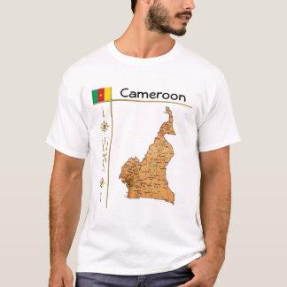 Kamerun-Karte + Flagge + Titel-T - Shirt