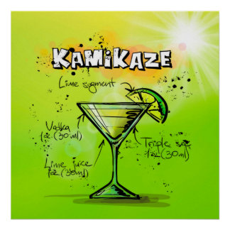 Kamikaze-Cocktail-Plakat Poster