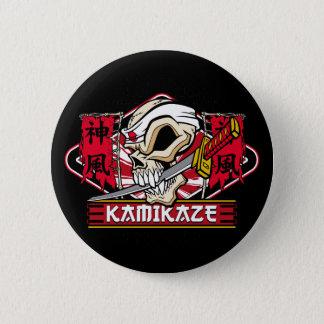 Kamikaze-Schädel mit japanischer Klinge Runder Button 5,1 Cm