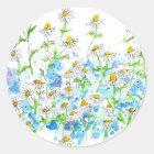 Kamillen-Gänseblümchen-Garten-Kraut-Aquarell Runder Aufkleber