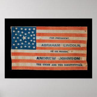 Kampagnen-Fahnen-Flagge Lincolns Johnson Poster