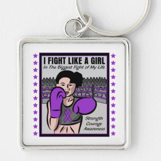 Kampf der Sarkoidosis-I wie ein Mädchen-Kampf Silberfarbener Quadratischer Schlüsselanhänger