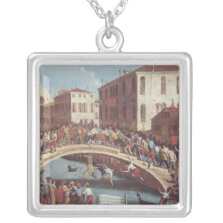 Kampf mit Stöcken auf dem Ponte Sankt Fosca Halskette Mit Quadratischem Anhänger