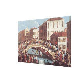 Kampf mit Stöcken auf dem Ponte Sankt Fosca Leinwand Drucke