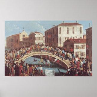 Kampf mit Stöcken auf dem Ponte Sankt Fosca Poster