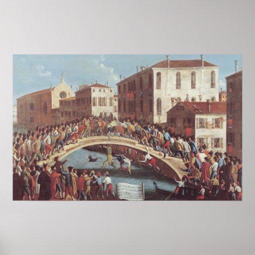 Kampf mit Stöcken auf dem Ponte Sankt Fosca Plakatdrucke