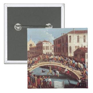 Kampf mit Stöcken auf dem Ponte Sankt Fosca Quadratischer Button 5,1 Cm