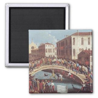 Kampf mit Stöcken auf dem Ponte Sankt Fosca Quadratischer Magnet