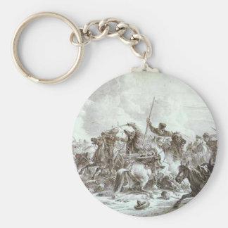 Kampf von Cossaks mit Kirgizes durch Alexander Standard Runder Schlüsselanhänger