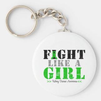 Kampf wie ein Mädchen beunruhigt - Nierenerkrankun Standard Runder Schlüsselanhänger