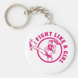 Kampf wie ein Mädchen Keychain Standard Runder Schlüsselanhänger