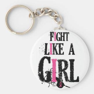 Kampf wie ein MädchenBrustkrebs Standard Runder Schlüsselanhänger