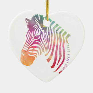 Kampf wie ein Zebra-Kopf Keramik Herz-Ornament