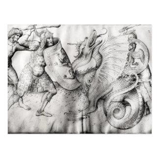 Kämpfen Sie zwischen Kriegern und einem Drachen, Postkarte