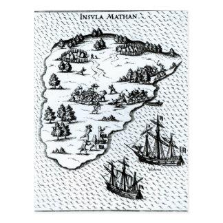 Kämpfende Eingeborene Ferdinand Magellan auf Insel Postkarte