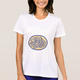 Kämpfendes Drache-Zeichnen St George T-Shirt