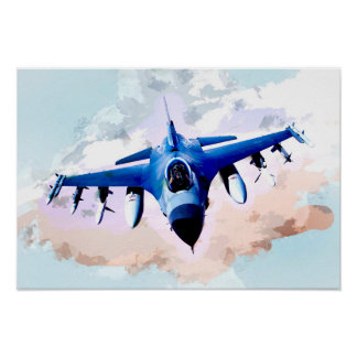 Kampfflugzeug in der Himmel-Malerei Poster