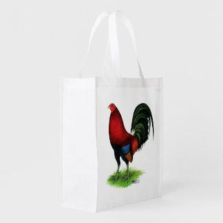 Kampfhahn:  Dunkelrot Wiederverwendbare Einkaufstasche