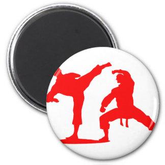 Kampfsportler-red Runder Magnet 5,1 Cm