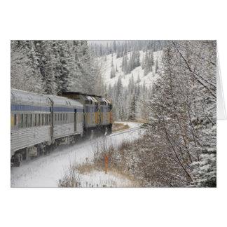 Kanada, Alberta. ÜBER Schienen-Schnee-Zug zwischen Grußkarten