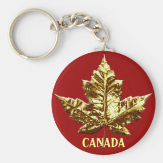 Kanada-Andenken-Schlüsselketten-Goldchrom-Ahornbla Standard Runder Schlüsselanhänger