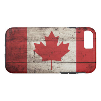 Kanada-Flagge auf altem hölzernem Korn iPhone 8/7 Hülle
