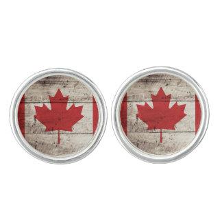 Kanada-Flagge auf altem hölzernem Korn Manschettenknöpfe