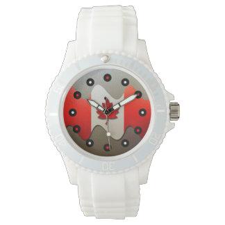 Kanada Flagge-Chrom durch Shirley Taylor Armbanduhr