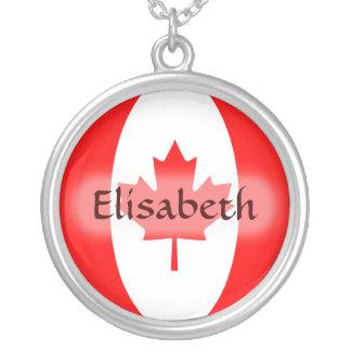 Kanada-Flagge + Namenshalskette Halskette Mit Rundem Anhänger