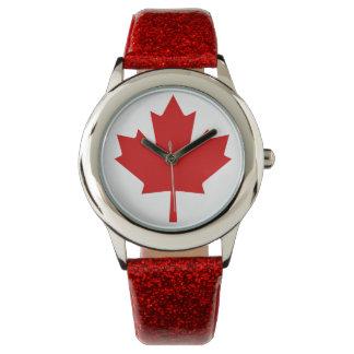Kanada-Flaggen-Ahornblatt Leuchtturm-Weg-Uhr Armbanduhr