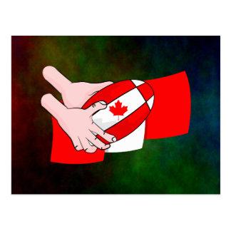 Kanada-Flaggen-Ahornblatt-Rugbyball Postkarte
