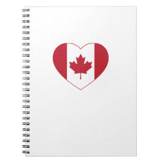 Kanada-Flaggen-Herz-gewundenes Notizbuch Spiral Notizblock