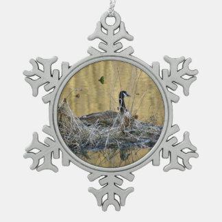 Kanada-Gans-Weihnachtsverzierungs-goldener Teich Schneeflocken Zinn-Ornament