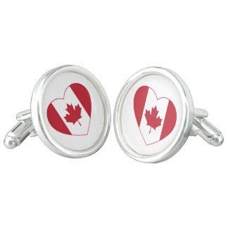 Kanada-Herz-Flaggen-Manschettenknöpfe Manschetten Knöpfe