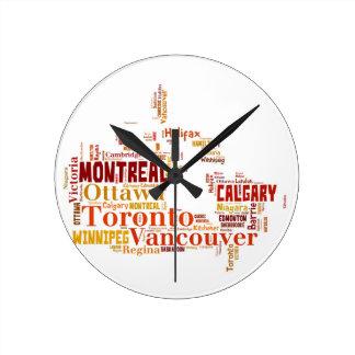 Kanada-Stadt-Wort-Kunst Runde Wanduhr