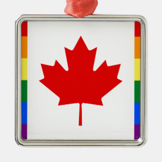 Kanada-Stolz-Regenbogen-Flagge Quadratisches Silberfarbenes Ornament