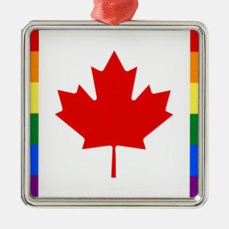 Kanada-Stolz-Regenbogen-Flagge Silbernes Ornament